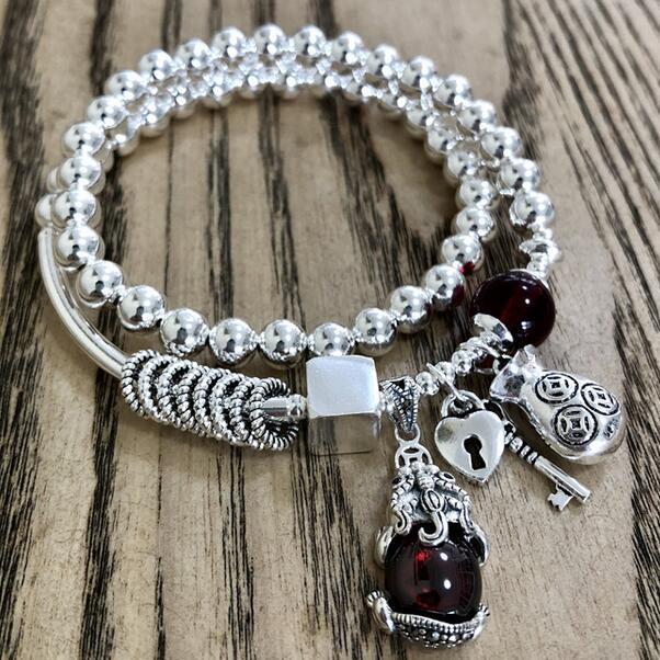 Hecho a mano de plata 925 Fengshui riqueza Pixiu de cuentas pulsera de la buena suerte de perlas de plata Pulsera-in Pulseras de tira from Joyería y accesorios    1