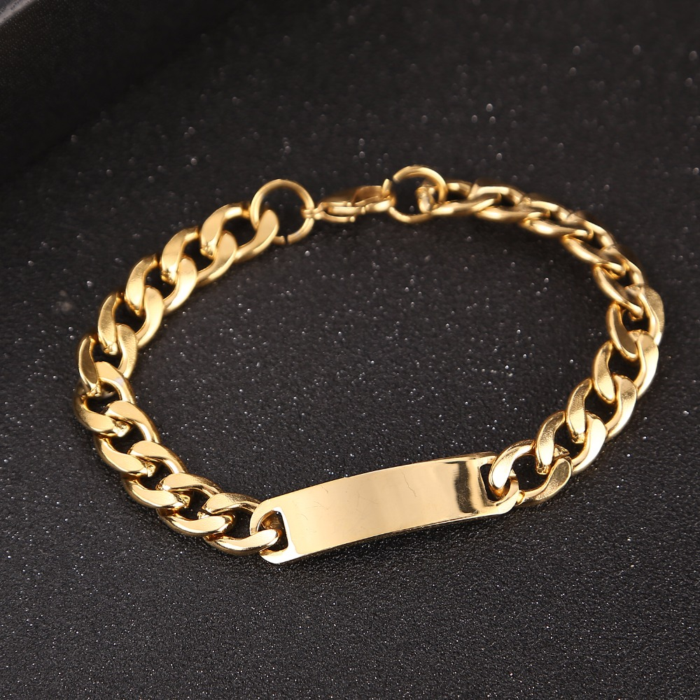 Witaya Gold Color Stainless Steel Bracelet Men Curb Chain ID Bracelet Jewelry Polished DIY PUNK Rock Jewelry 21cm