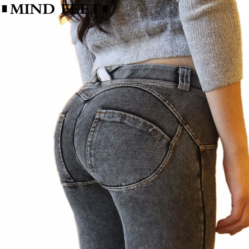 Jeans Mind Feet Slim Sexy Women Push Up Jeans Skinny Stretched Knitted Fabric Low Waist Denim Trousers Peach Lift Butt Jeans Autumn Bottoms