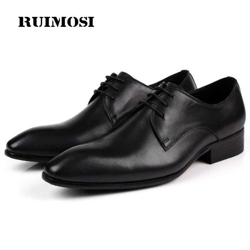 RUIMOSI Classic Man Derby Formal Dress Party Shoes Genuine Leather Wedding Oxfords Pointed Toe Lace up Men's Bridal Flats SF85