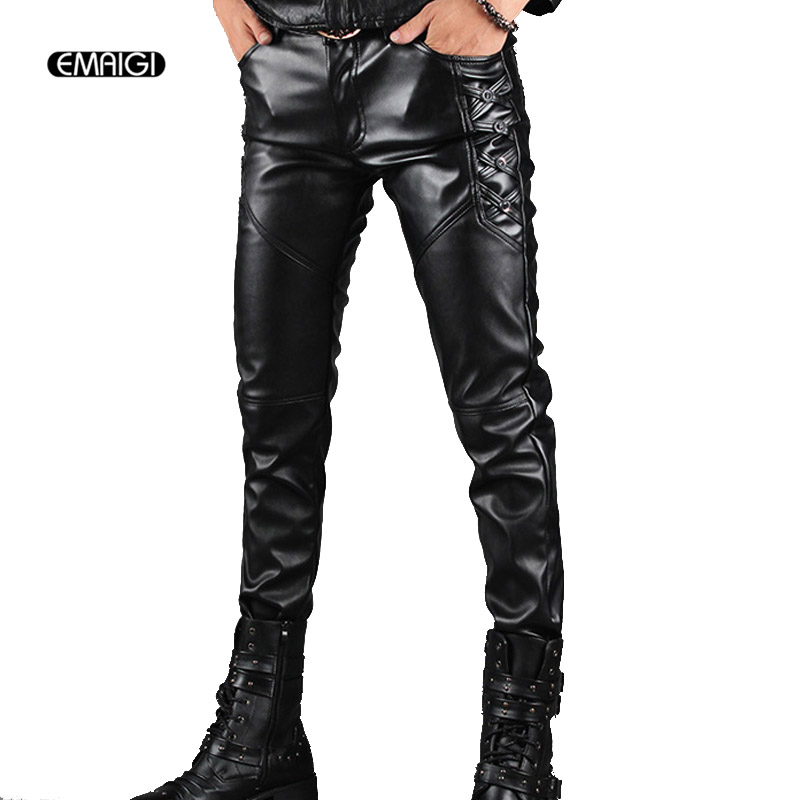 Men's Leather Pants Men Fashion Casual Pant Male Slim Fit PU Leather Locomotive Pants Punk Rock Stage Show Clothing-in Leather Pants from Men's Clothing