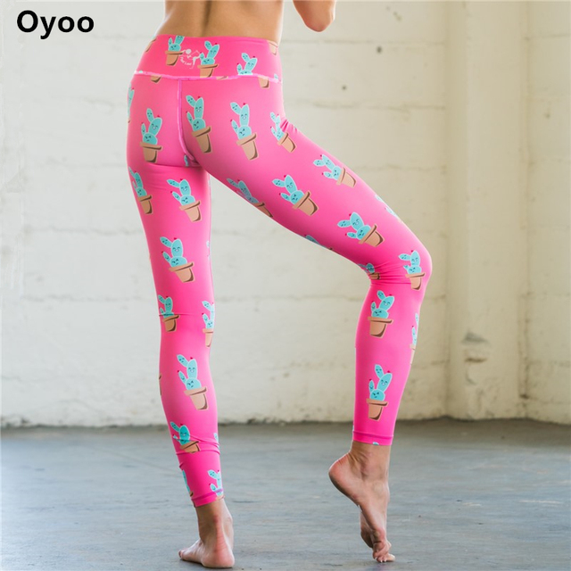 1743eb4f39f933 Oyoo Hotsale Cactus Gym Leggings Super Cute Stretch Workout Running Tights  Women Printed Pink Yoga Pants Funny Sportwear