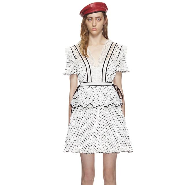 2384c98e5dfae Self Portrait Dress 2018 Women Summer V-neck Short Sleeve Dot Chiffon Lace  Patchwork Pleated Dress vestido de festa