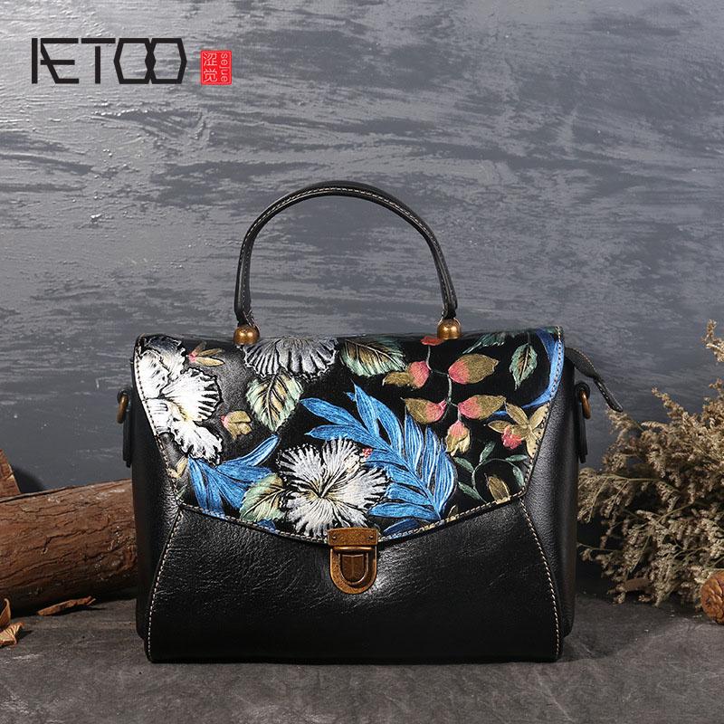 AETOO Fashion bags women new leather handbags hand-painted ladies shoulder diagonal handbag aetoo new handbags fashion retro leather handbags rose imprint ladies diagonal handbag mini shoulder bag