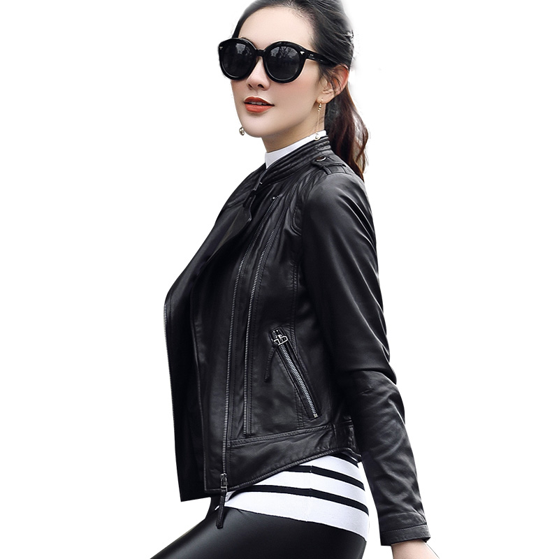 High Quality PU Leather   Jacket   Autumn Winter Fashion Women Slim Zipper Motorcycle Coats Short   Basic     Jackets   Chaqueta Mujer