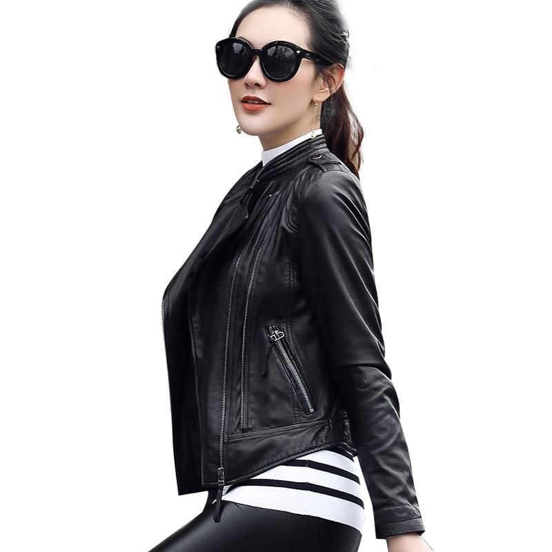 High Quality PU Leather   Jacket   Autumn Winter Fashion Women Slim Zipper Motorcycle Coats Short   Basic     Jackets   Chaqueta Mujer
