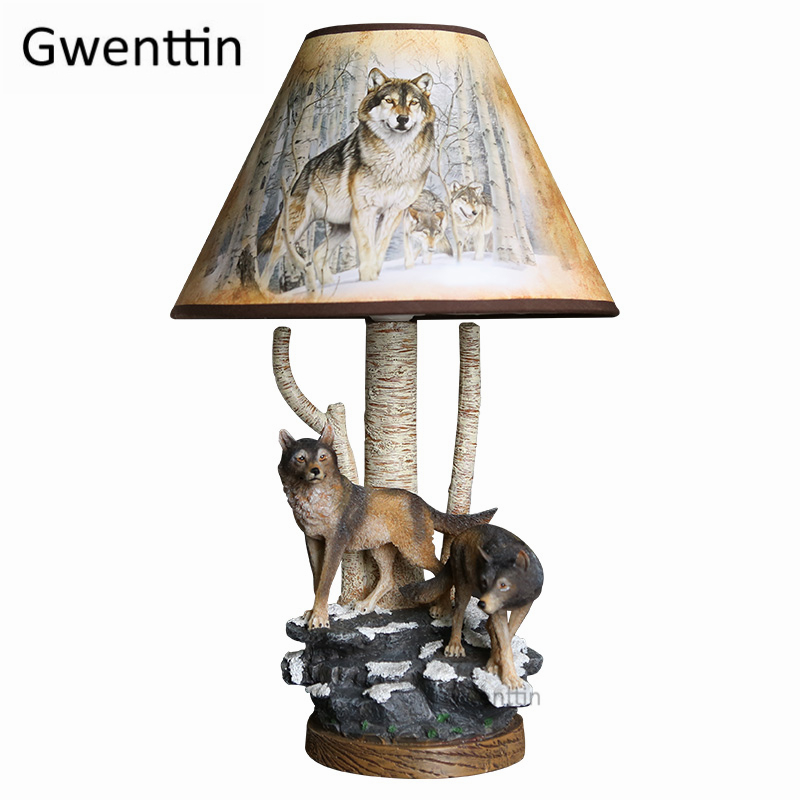 Modern Resin Wolf Table Lamps Led Stand Desk Light For Living Room Bedroom Home Decor Animal Lamp Bedside Reading Fixtures E27