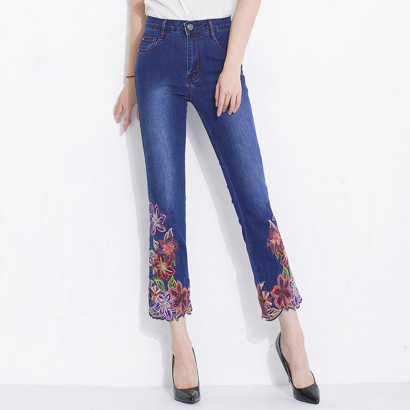 PantalonD'été Femme Stretch Printemps Pantalon Femmes Denim 2018 Femelle Cheville Longueur Broderie Flare Jeans Designer Brodé jMVSqULzGp