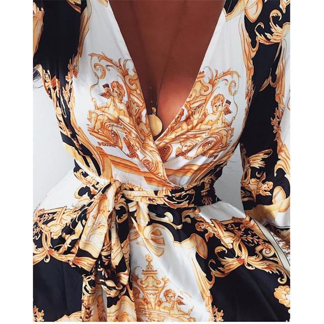 Retro Women Ladies Printed Long Dresses Long Sleeve V-neck Vintage Dress Party Gown High Waist Puff Sleeve Floor-Length Dresses 2