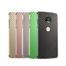 E5 Luxury Metal Case For Motorola Moto E 5 Aluminum Frame & Carbon Fiber Back Cover Shockproof Shell Capa