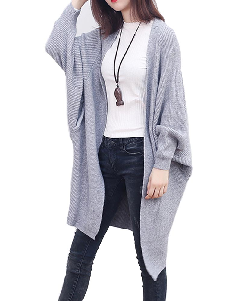 Hitmebox 2018 New Autumn Leisure Women Solid Color Plain Sweaters Side Pockets Batwing Long Sleeve Baggy Cardigans Jacket Coat