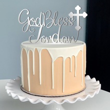Personalized God Bless Cake Topper Baptism centerpiece Christening Name First Holy Communion Religious Cross