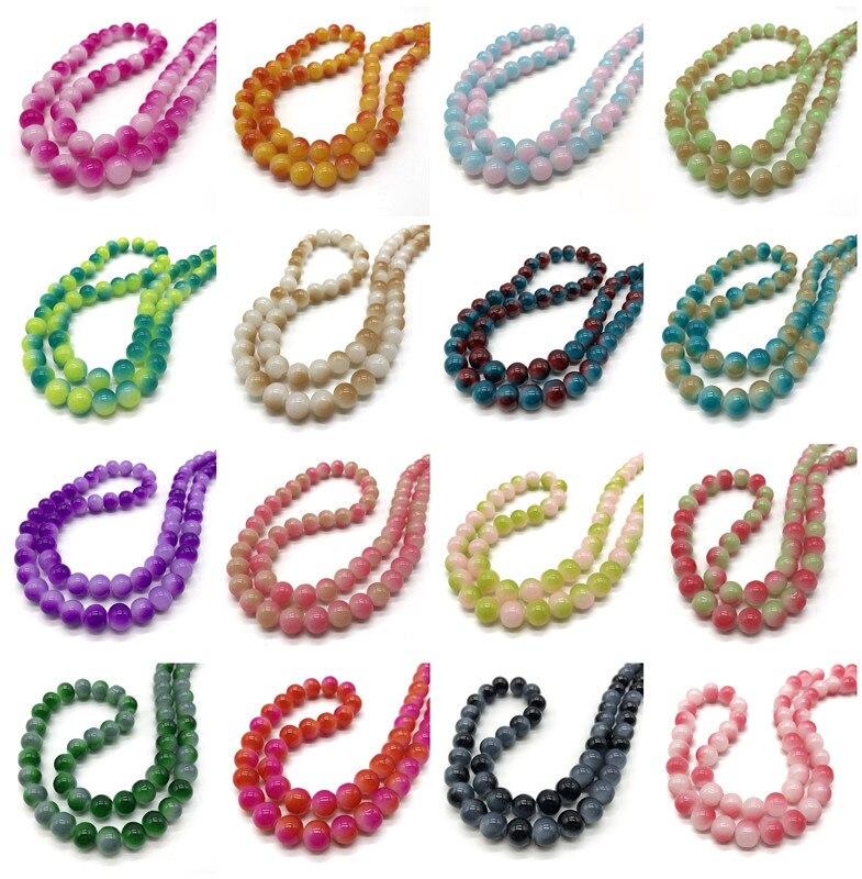 4 6 8 10 мм дихроическое Стекло Круглые свободные бусины DIY браслет серьги Подвески ожерелье бусины для изготовления ювелирных изделий