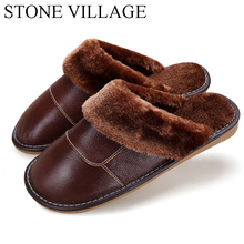 6 Colors 2018 New Genuine Leather Home Slippers High Quality Women Men  Slippers Plush Warm Indoor 9d5cf10332ac