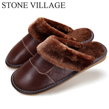 2020 Genuine Leather Slippers Home Slippers  High Quality Women Men Slippers Plush Warm Indoor  Shoes Men  Women Size 35-44