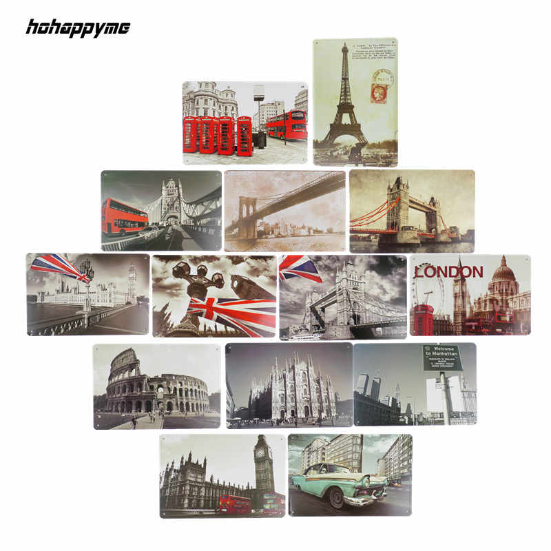 Targhe Signs Decorazione in Birra Bar Garage Cafe Immagini a Parete Piastra di Metallo London Telephone Box Parigi Vintage Complementi Arredo Casa 20X30 Centimetri