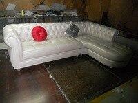 JIXINGE estilo europeo real sala de estar muebles Top cuero genuino chesterfield forma L sala de estar sofá SF371