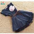 2016 New Fashion Girls Dresses Top Quality Dark Blue  Dots Stripe Flower Kids Girl Dress with Belt summer free shipping