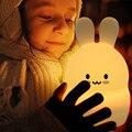 Кролик светодиодный ночник сенсорный датчик RGB на батарейках мультяшный силиконовый кролик прикроватная лампа для спальни для детей Детск...