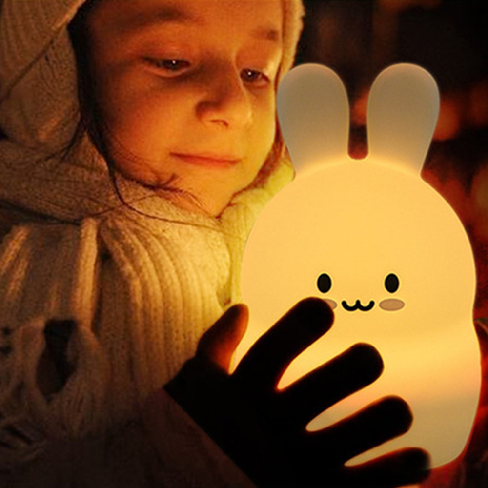 Rabbit LED Night Light Touch Sensor RGB Battery Powered Cartoon Silicone Bunny Bedroom Bedside Lamp for