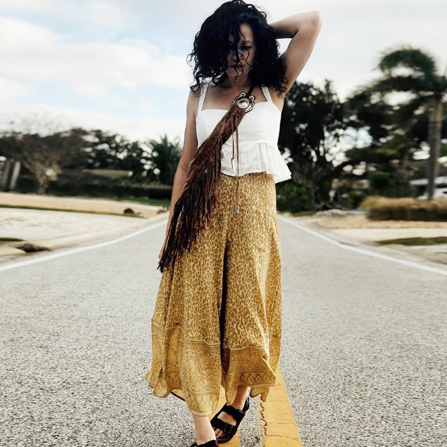 TEELYNN boho   Wide     Leg     Pants   Wild Thing yellow floral print Summer Elastic   pant   Waist Loose Beach   Pant   Gypsy Rayon Long Trousers