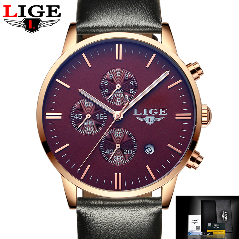 LIGE Fashion Chronograph Sport Mens Watches Top Brand Luxury Quartz Watch Reloj Hombre Male Military Clock Man Relogio Masculino