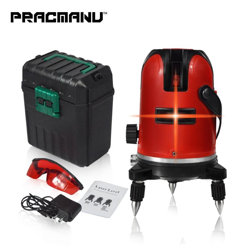 PRACMANU 5 Linien 6 Punkte Laser Ebene Automatische Selbst Nivellierung 360 Vertikale und Horizontale Grad Neigung Dreh LD 635nm Outdoor modus