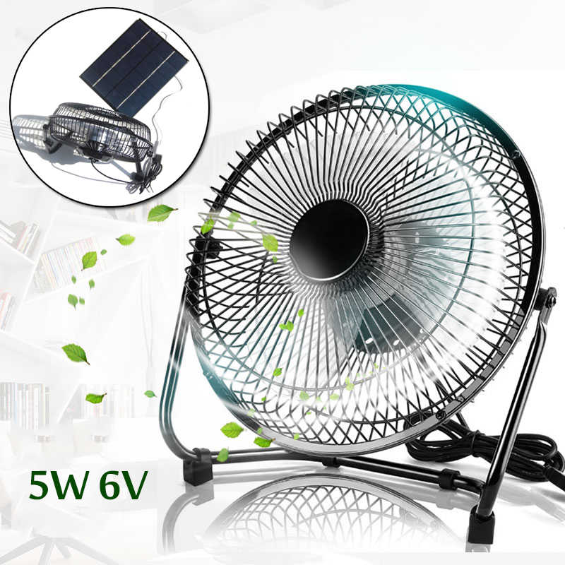5W 6V Black Solar Panel Powered USB 5W Iron Fan Cooling Ventilation for Outdoor Traveling Fishing Home Office