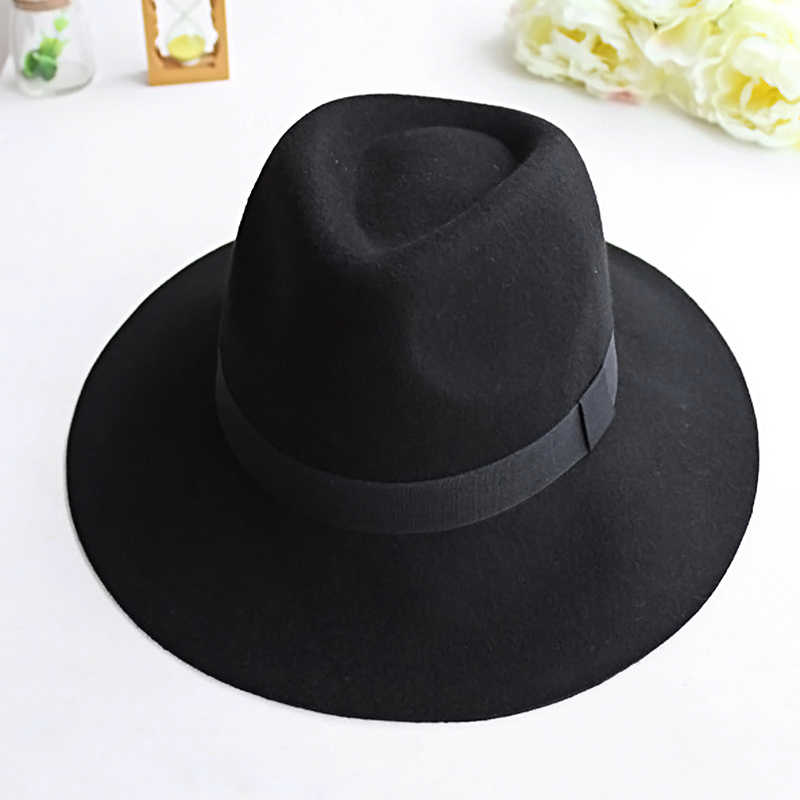 58d3be8f31a41 ... Vintage Women Caps Wide Brim Hat Black Ribbon Warm Wool Blend Felt Hat  Womens Caps Wide ...