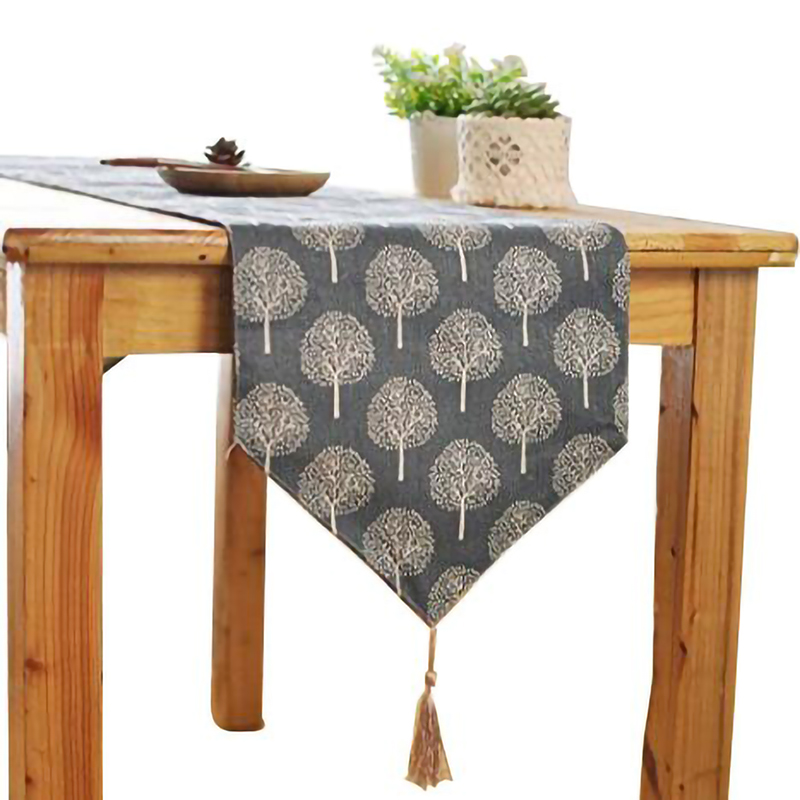 Rustic Tree Table Runner Cotton Linen Pattern Washable Floral Tree Table Runner