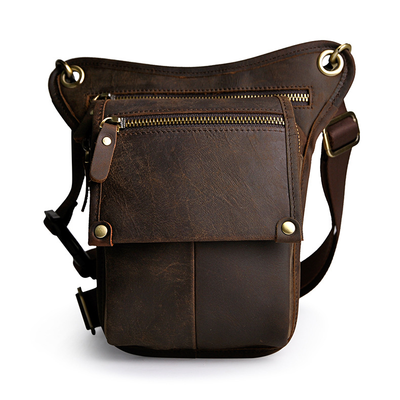 2018 New Genuine Oil Wax Leather Men Vintage Waist Bags Belt Waist Pack Drop Leg Funny Bag Hot Selling цена 2017