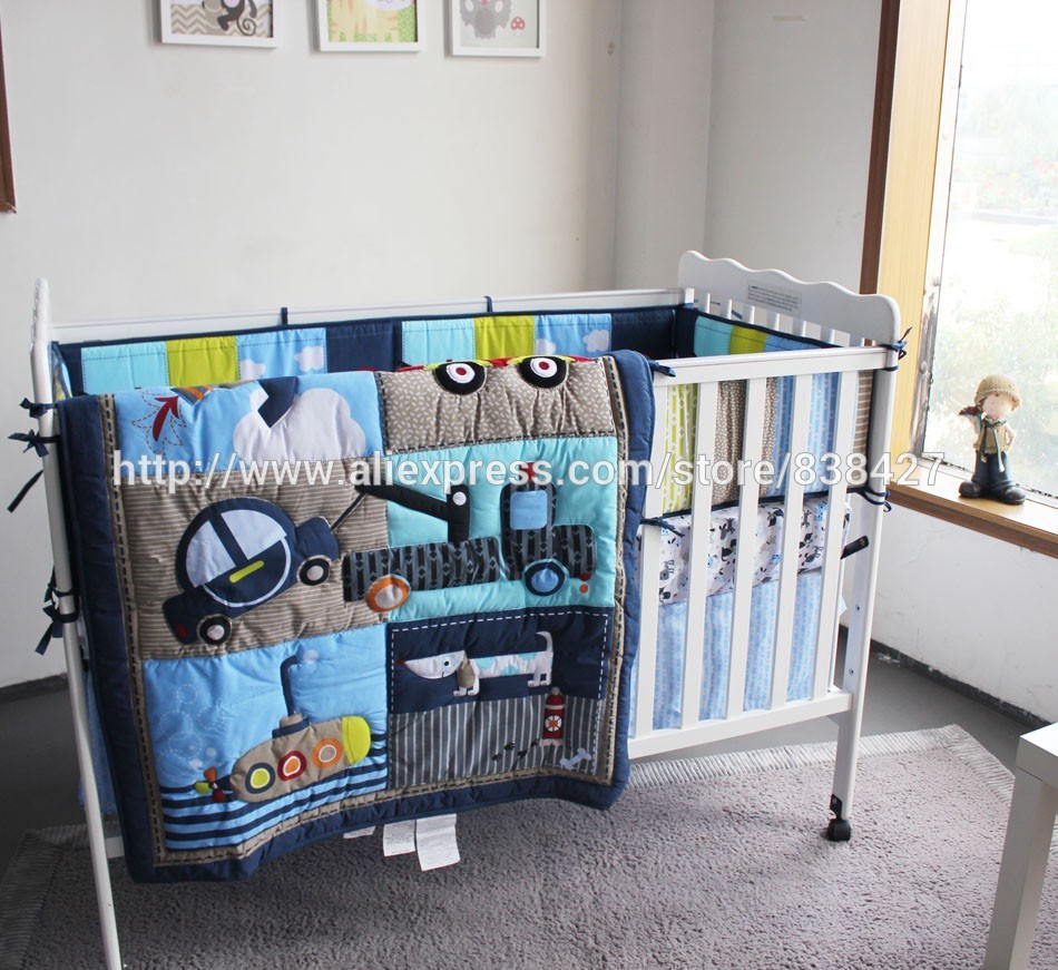 Baby cribs bedding for boys - Ups Free New Baby 4 Pcs Set Dog Car Boy Baby Cot Crib Bedding Set Includes Cuna Quilt Baby Bed Bumper Sheet Skirt