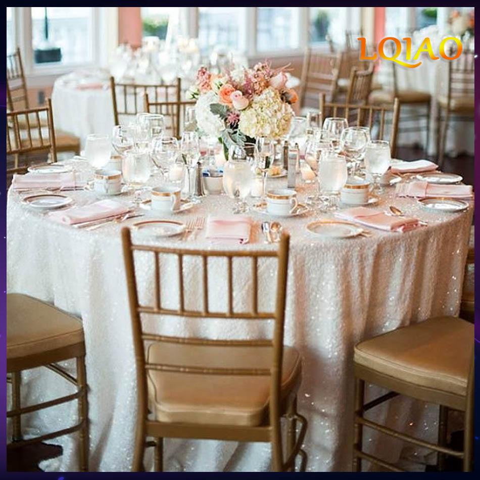 """웨딩 테이블 린넨 반짝이 장식 조각 테이블 커버 웨딩 장식에 대한 도매 120 """"라운드 (300 cm) 화이트 스팽글 테이블 보-에서식탁보부터 홈 & 가든 의  그룹 1"""