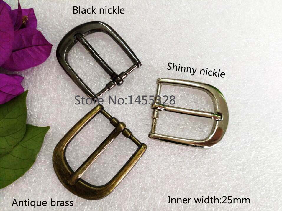 20pcs/lot 25mm 1inch simple zinc alloy metal buckle with pin shinny nickle black bronze belt bucke high polished 2016031010
