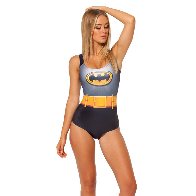 Women Sexy One Piece Swimsuit Batman Costume 3D Digital Printing Scoop Neck Lower Back Monokini Bathing Suit Maillot Swimwear