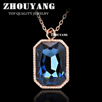 Top Quality Noble Style Big Crytal Rose Gold Color Pendant Necklace Austrian Crystal ZYN499 ZYN500 ZYN501 ZYN502