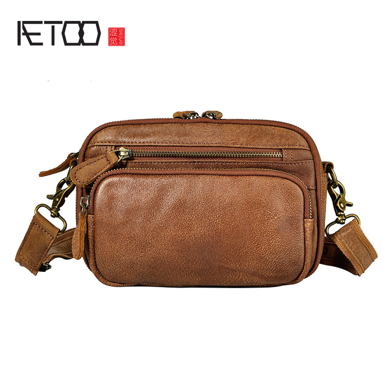 AETOO The First Layer Of Oil Wax Leather Leather Foreign Trade Men Tide Cool Phone Camera 7 Inch Chest Bag Pockets