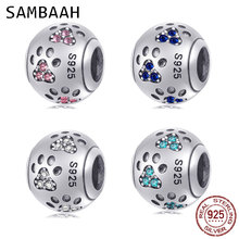 Sambaah Dog Paw Print Charm with Austrian Crystal 925 Sterling Silver Pet Pawprint Beads fit Original Pandora Animal Bracelet e cigarette electronic cigarette mech mod original thc tauren mech mod support single 18650 20700 21700 vs xbox vape mod gen 25
