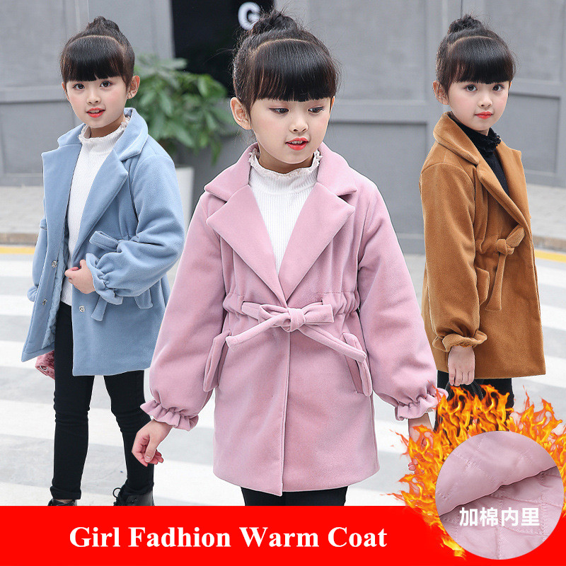 все цены на Girls Wool Coat Girls Clothes Thick Overcoat Kids Jacket for Girls Winter Warm Coat Outerwear Children Clothing 3~12 years