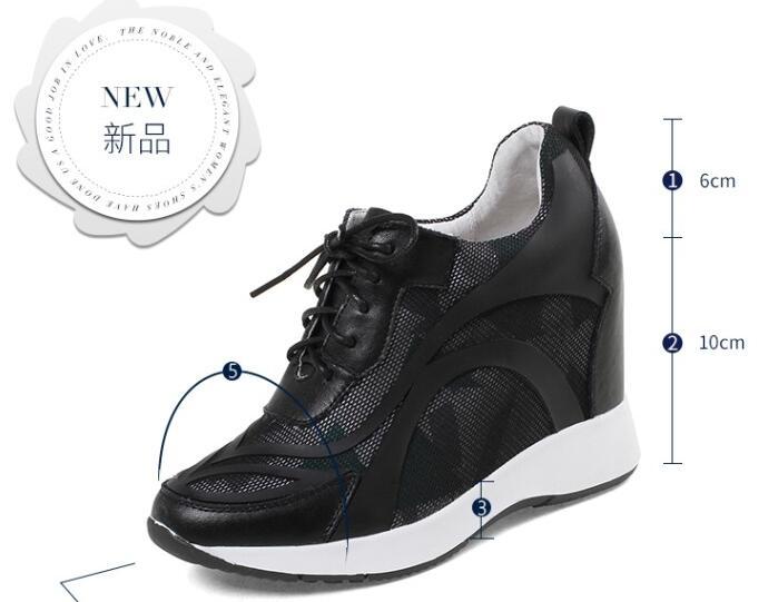 Altura Alto {zorssar} Nueva Mujeres Mujer blanco Las Zapatillas Plataforma Deporte Señoras Casuales Transpirables Zapatos Tacón Negro Cuñas 2018 Aumento De OrOqZf