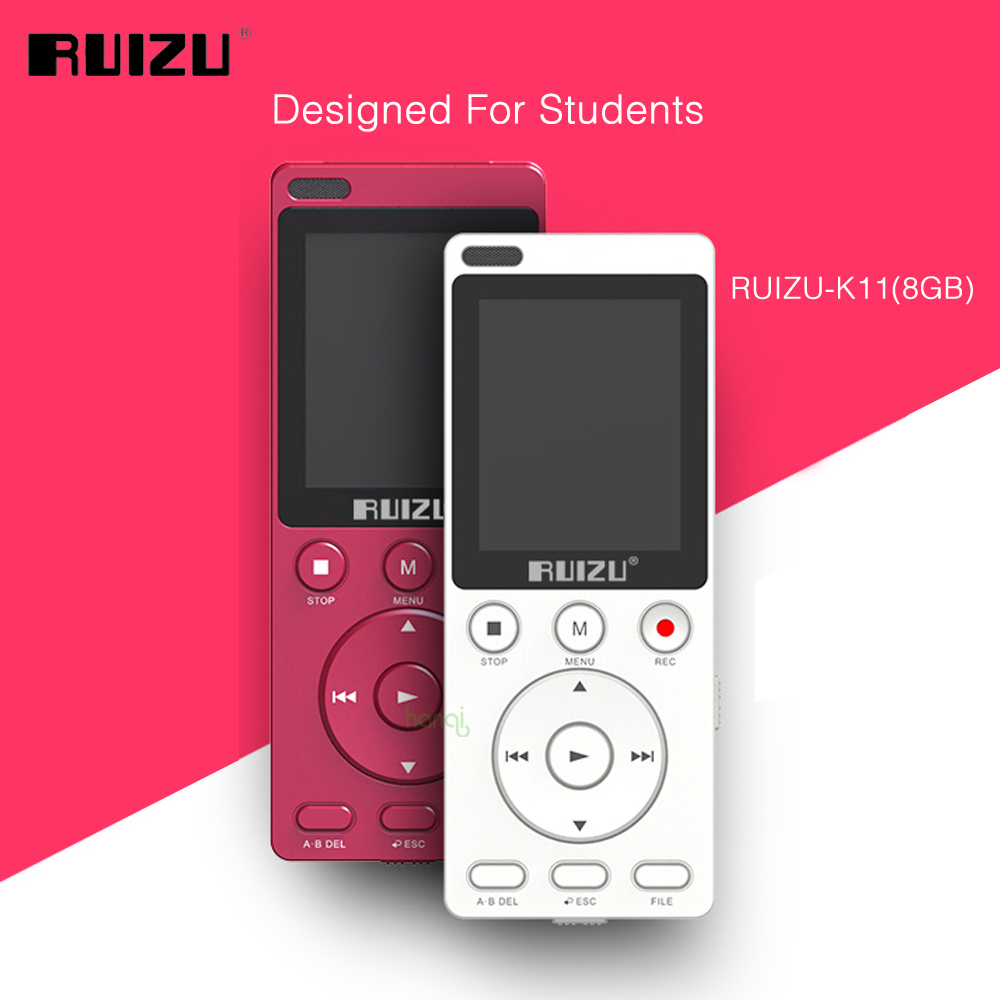 RUIZU K11 8GB Mp3 Music Player Portable Digital Voice Recorder Built-in Loudspeaker Support TF Card One-key A-B Repeat For Study