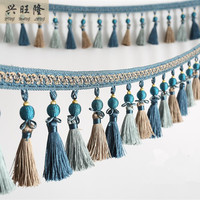 New 6M Lot 11cm Wide Beads Curtain Lace Accessories Drapery Tassel Fringes Trim Ribbon DIY Sewing