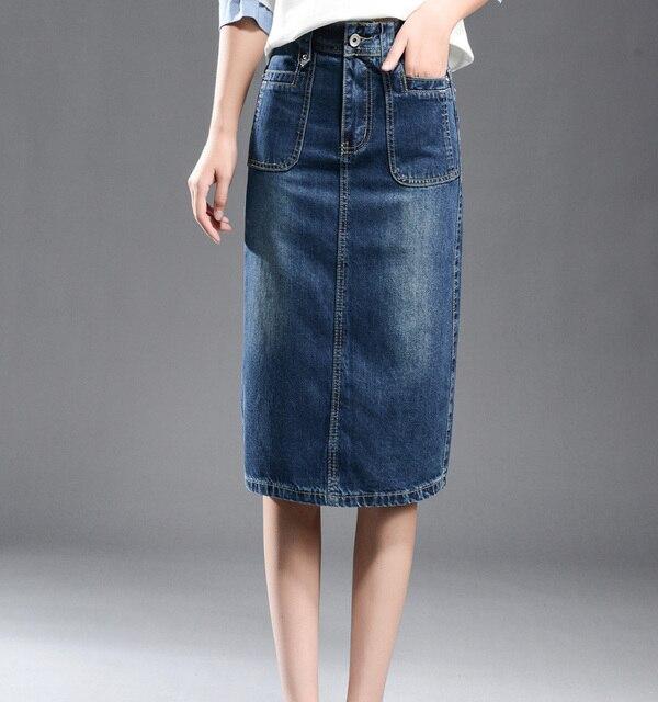 8863038895174f Dames jeans jupe 2018 paquet Hip taille haute décontractée longues femmes  Denim jupes avec poches grande crayon