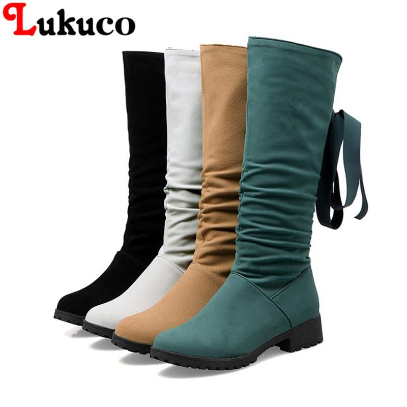 2018 big size to 38 39 40 41 42 43 44 45 46 47 Lukuco fashion mid-calf boots zipper design high quality lady shoes free shipping