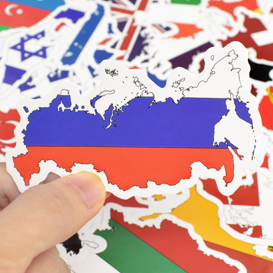 50 PCS National Flag Sticker Toys for Children Country Flag Map Travel Stickers for Suitcase Laptop Motorcycle Bicycle Car Decal