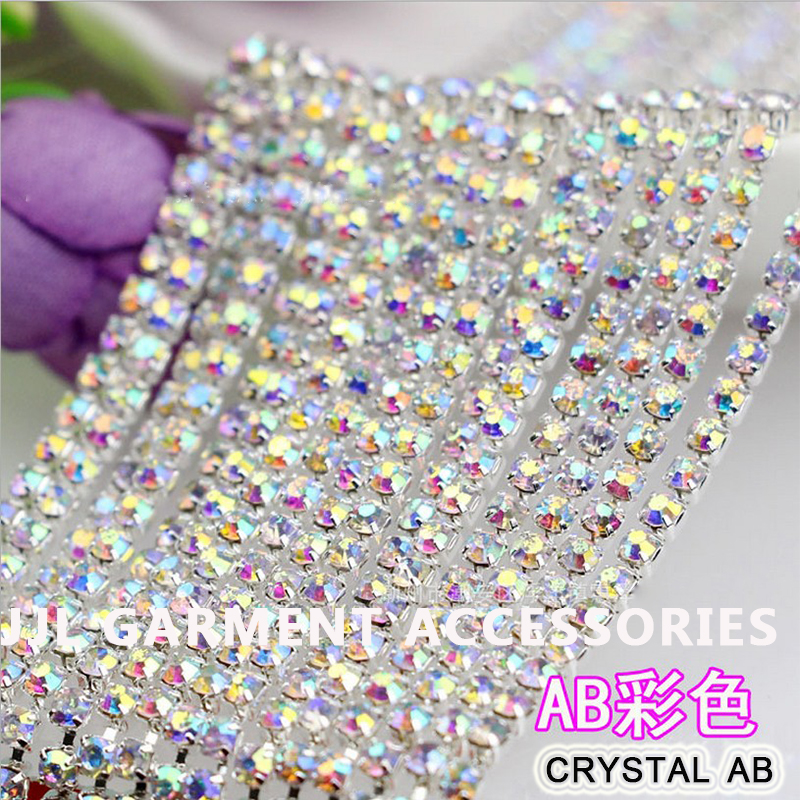... Applique Hotfix Iron On Strass Mesh Banding. US  52.20. 10yards Silver  base crystal AB Color SS6 ss8 ss10 ss12 Crystal Rhinestone chain trimming  sew on 5a10175f8ace