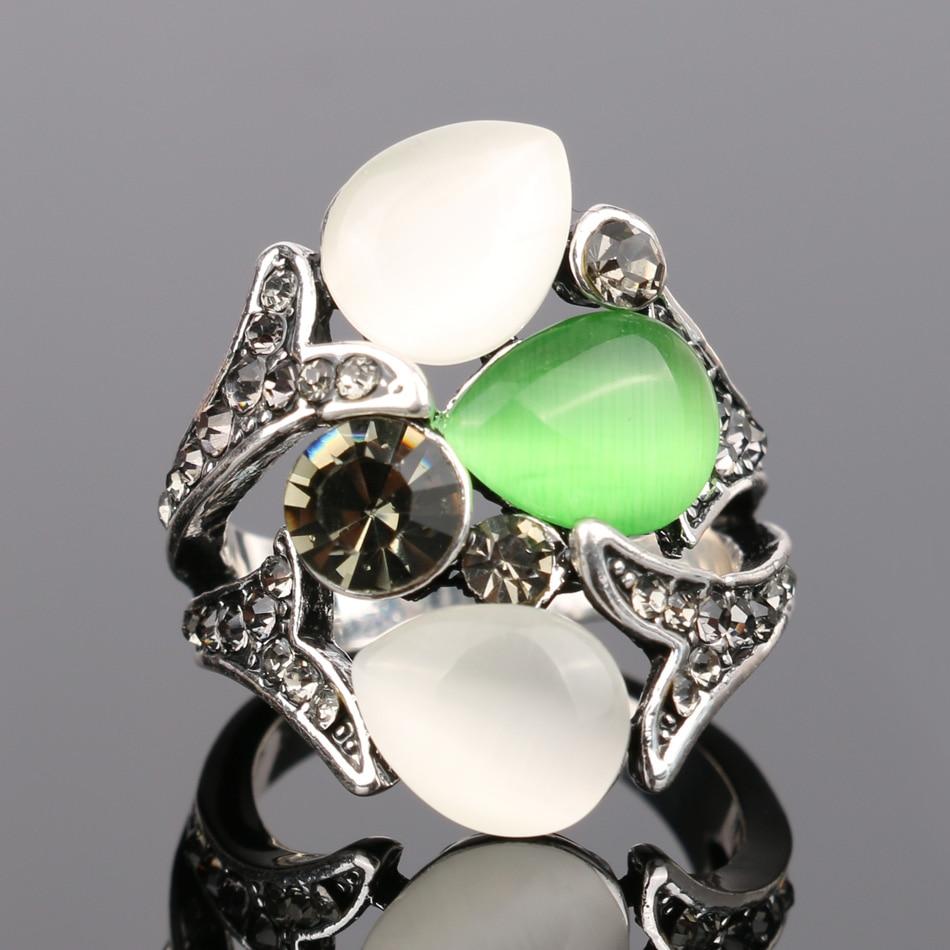 Kinel Vintage Kristall Anel Schmuck Opale Eheringe für Frauen Silber - Modeschmuck - Foto 3