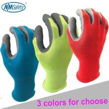NMSafety גן עבודה כפפות לגברים או נשים עם צבעוני פוליאסטר שחור קצף לטקס בטיחות מגן כפפות