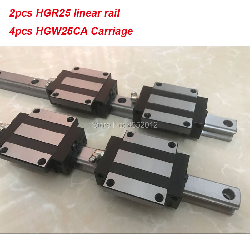 25MM 2pcs linear rail HGR25 450 500 550 600 650 700 mm cnc parts and 4pcs HGW25CA linear guide block HGW25CA  25MM 2pcs linear rail HGR25 450 500 550 600 650 700 mm cnc parts and 4pcs HGW25CA linear guide block HGW25CA