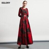 XXXL Women Long Maxi Dress 2017 Autumn Winter O Neck Vintage Jacquard Prints Zipper Design Dress